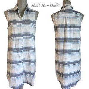Beach Lunch Lounge Blue Striped Cotton Gauze Dress